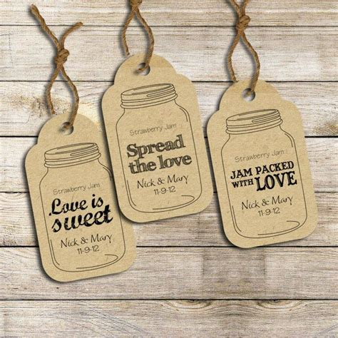 printable tags for jars wedding favor labels three customized ready to print