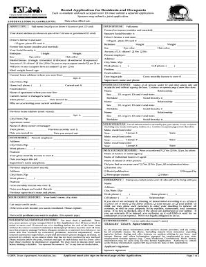 Taa Apartment Lease Form Rental Application Form Fill Printable
