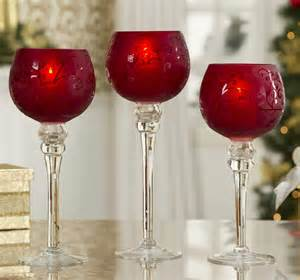 Christmas candle holders frosted red glass hurricane christmas