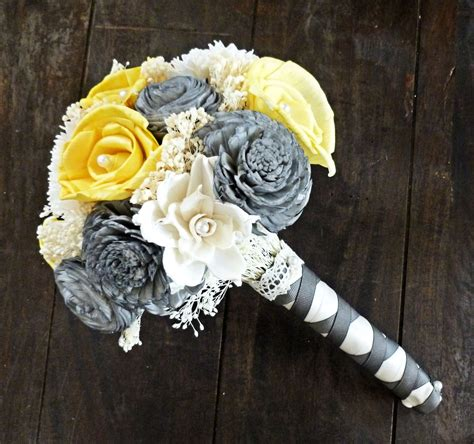 Handmade Wedding Bouquet - custom handmade wedding bouquet yellow gray ivory by