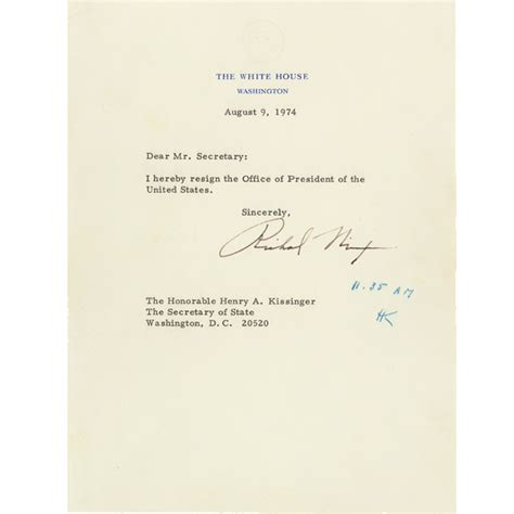 Resignation Letter White House Richard Nixon S Resignation Letter And Gerald Ford S Pardon