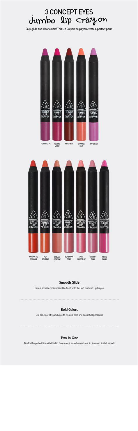 Lip Liner 3ce 3ce 3 concept jumbo lip crayon korea guarantee