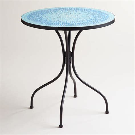 Mosaic Bistro Table Turquoise Cadiz Mosaic Bistro Table Mediterranean Indoor Pub And Bistro Sets By Cost Plus