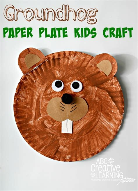 groundhog crafts for groundhog paper plate craft