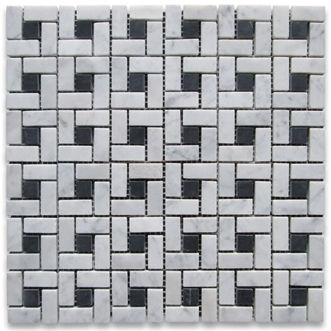 carrara white target pinwheel mosaic tile w black dots