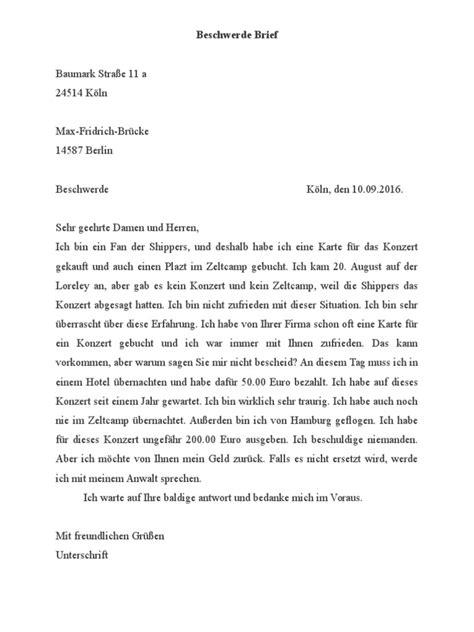 Beschwerde Brief Beispiel beschwerde brief