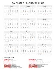 Calendario 2018 Con Feriados Argentina Calendario Uruguay A 241 O 2018 Feriados