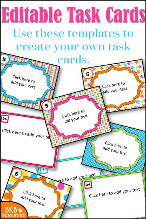 editable task card templates editable printables archives bkb resources