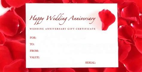 Wedding Anniversary Gift Certificate by Wedding Anniversary Gifts Wedding Anniversary Gift