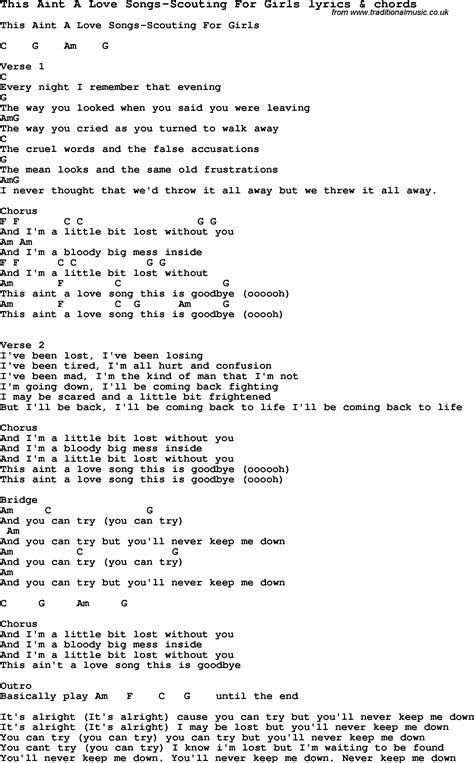 Love Songs Girl | love song lyrics for this aint a love songs scouting for