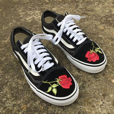 Custom Flower vans flower embroidery custom