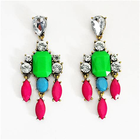 Color Mix Drop Earrings   crystal chandelier earrings with pink droplets by Shamelessly Sparkly