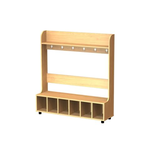 cubby hole bench cloakroom dressing bench 6 cubby holes and 6 hooks