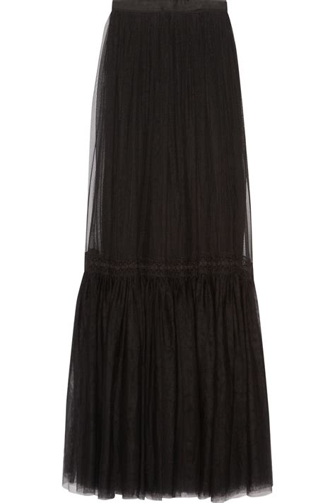 needle thread lace trimmed tulle maxi skirt in black lyst