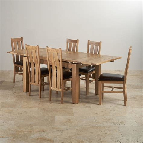 Solid Oak Extending Dining Table And 6 Chairs Dorset Dining Set In Oak Extending Table 6 Leather Chairs