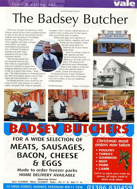 badsey high butchers shop news article 2010 the badsey butcher the badsey archive