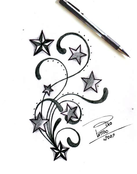 3 stars tattoo design and swirls design sketches by bixotattoo