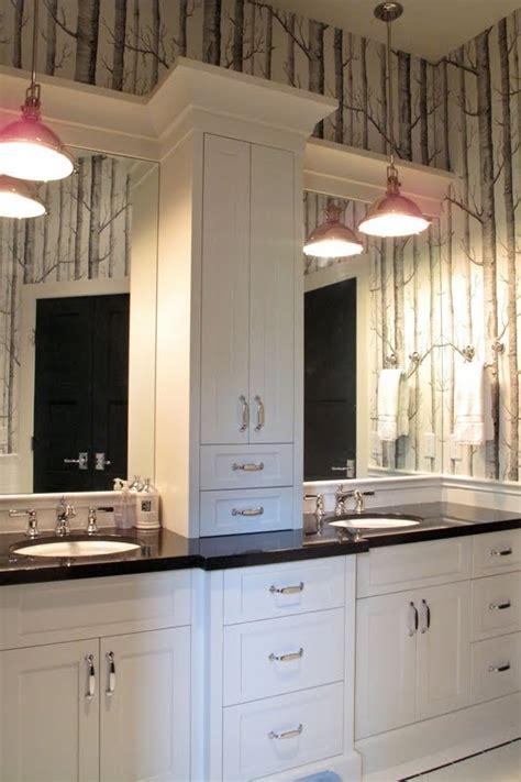 bathroom vanity with center linen cabinet 22 best master bathroom center cabinets images on