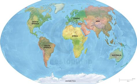 image of world map with continents vector map world relief continents political one stop map