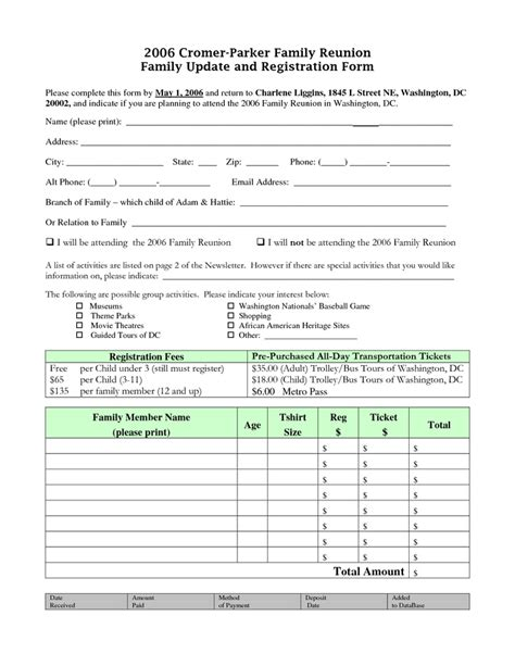 family reunion registration form template 62 best images about reunion registration on