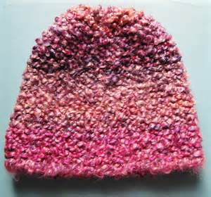 knit and purl on a loom homespun thick and garter stitch hat pattern for the