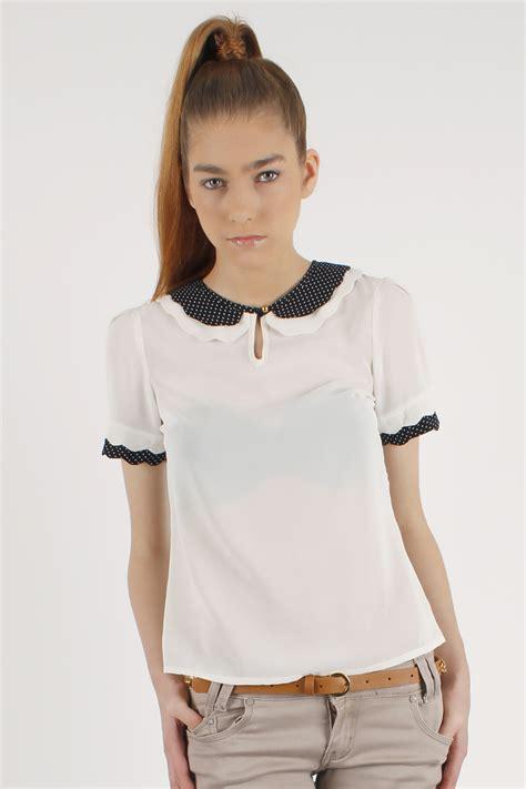 White Blouse Pan Collar by White Sleeved Pan Collar Blouse Sizes 8 14 Ebay