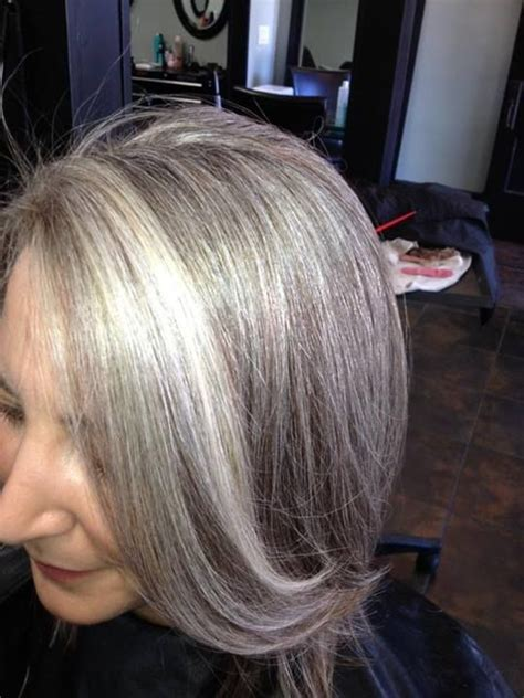 exles of silver and grey lowlights blending gray hair with highlights and lowlights hairs
