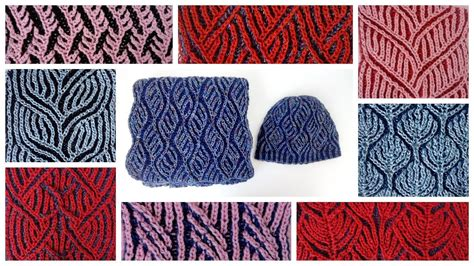 compilation of two color brioche stitch knitting patterns