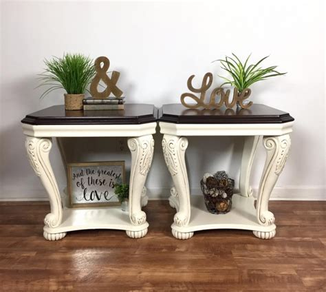 antique white end tables end tables in antique white java gel stain