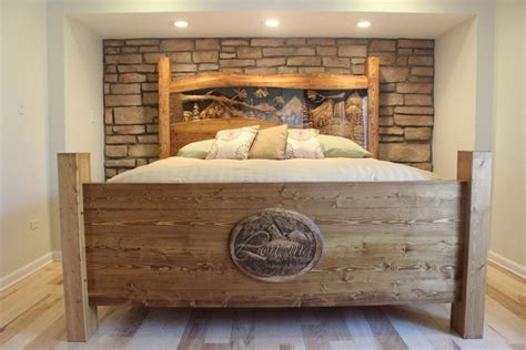 King Size Wood Headboard And Footboard made king size headboard footboard waterfall pine forest carved by