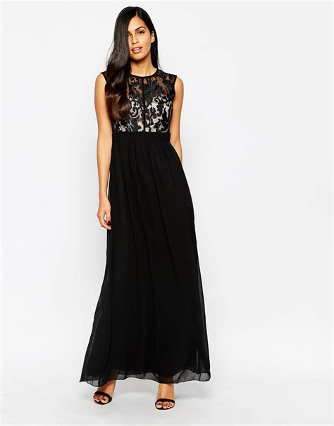 Maxi Top maxi dress with lace top in black lyst