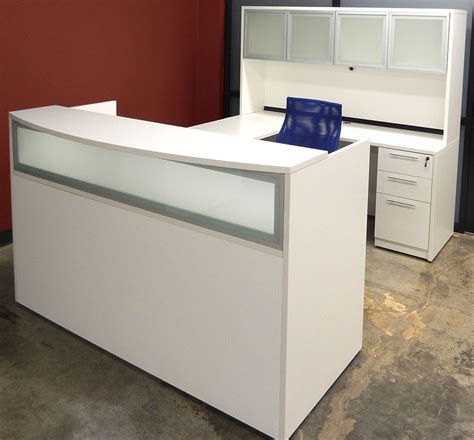 white u shaped desk l shaped white reception desk w frosted glass panel