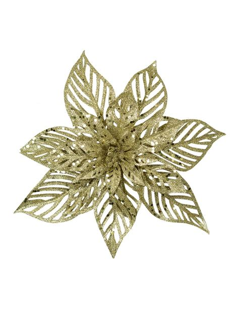 hessian gold poinsettia picks gold glittered poinsettia 15cm decorations the warehouse