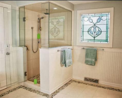 Half Glass Shower Management Chair Design Idea Half Height Tiled Shower