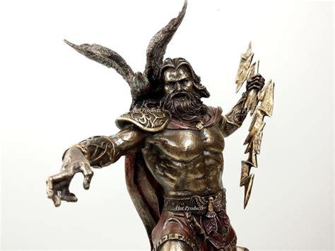 greek mythology statues king zeus god of thunder w lightning bolt greek mythology