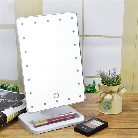 movable bathroom mirrors lighted makeup cosmetic vanity mirror tabletop 20 led