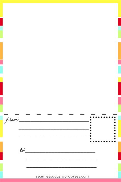 Free Printable Blank Postcards For Kids Listening In The Litany Postcard Printing Template