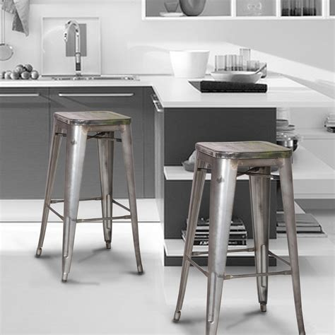 30 inch black metal bar stools joveco 30 inches distressed metal bar stool with wooden