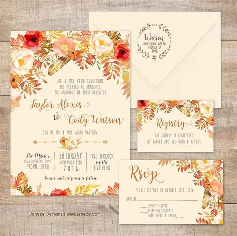 Unique Fall Wedding Invitations by 17 Best Images About Jeneze Designs Wedding Invitations On