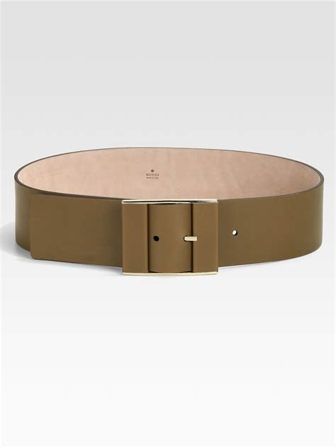 gucci leather covered buckle belt in brown lyst