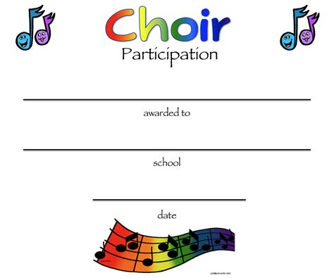 choir certificate template chorus certificates awards technologi information