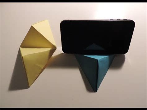 How To Make A Paper Phone Stand - origami cell phone business card stand