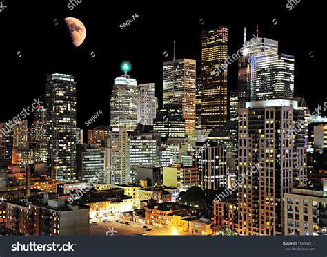 Toronto Center Night City View Canada Stock Photo