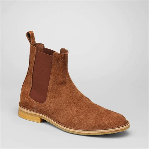 bottega veneta mens boots bottega veneta buffalo suede chelsea boots in brown for