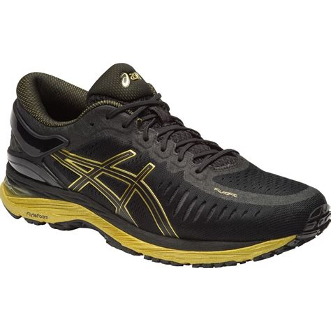 gold athletic shoes asics metarun mens running shoes black onyx gold