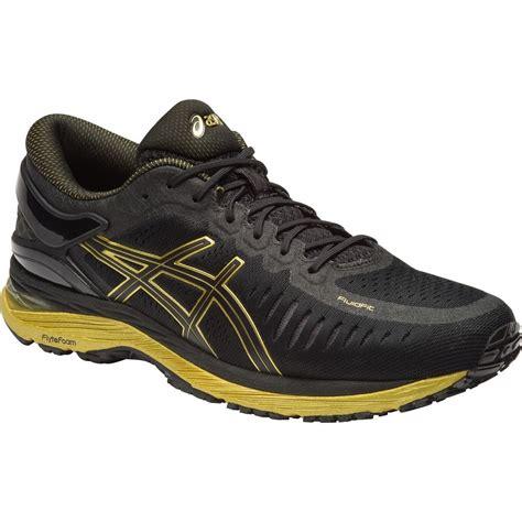 black asic running shoes asics metarun mens running shoes black onyx gold