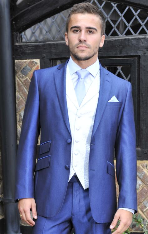 electric blue waistcoat wedding dress  william young hitchedcouk