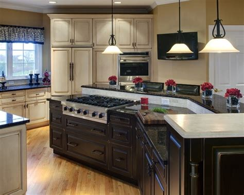 multi level kitchen island traditional spaces cooktop in the kitchen island design