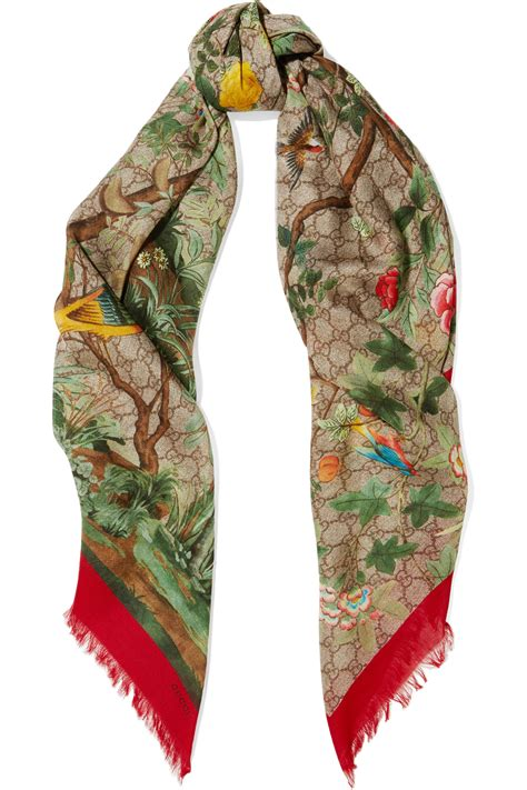 gucci gg tian printed modal and silk blend scarf in
