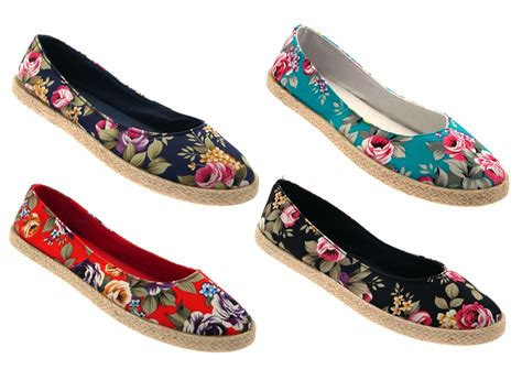 flat shoes for uk womens floral flat canvas pumps hessian espadrilles
